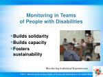 monitoring in teams of people with disabilities
