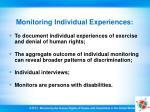 monitoring individual experiences