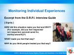 monitoring individual experiences28