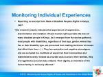 monitoring individual experiences29