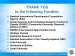 thank you to the following funders