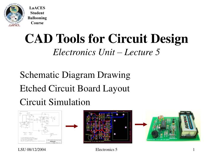 PPT - CAD Tools for Circuit Design Electronics Unit – Lecture 5 ...