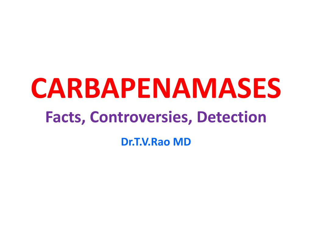 carbapenamases facts controversies detection