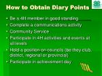 how to obtain diary points