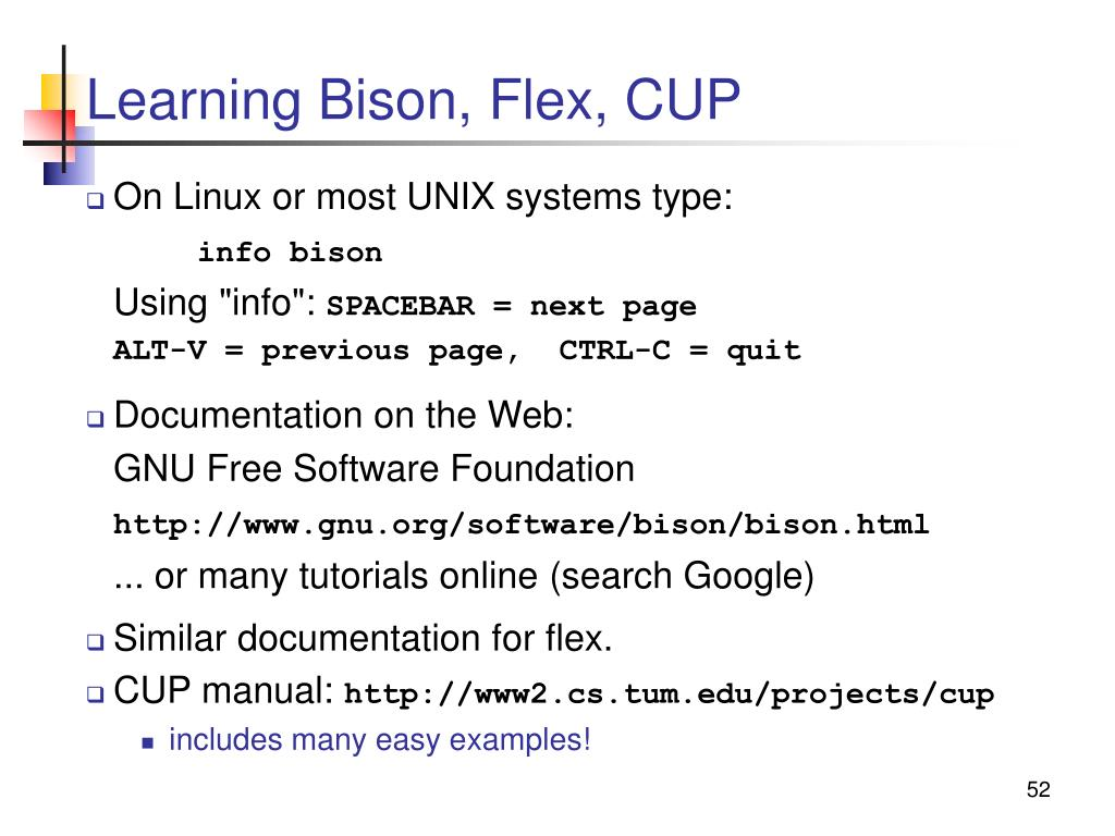 Learning Bison, Flex, CUP