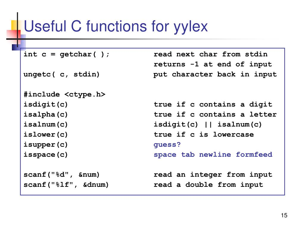 Useful C functions for yylex
