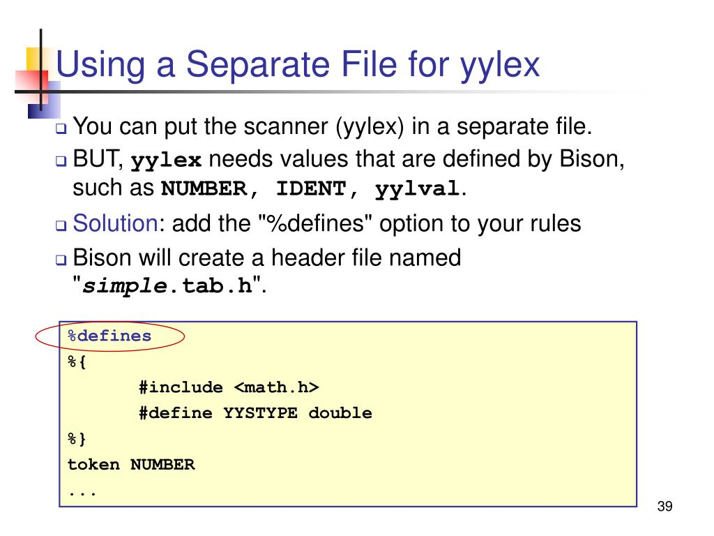 Using a Separate File for yylex