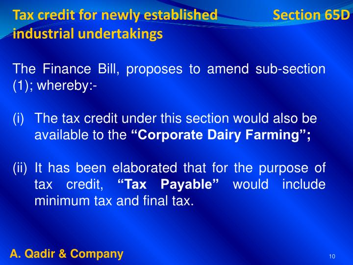 Tax credit for newly established