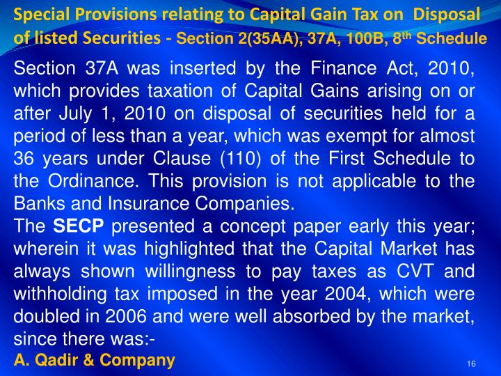 Special Provisions relating to Capital Gain Tax on  Disposal of listed Securities