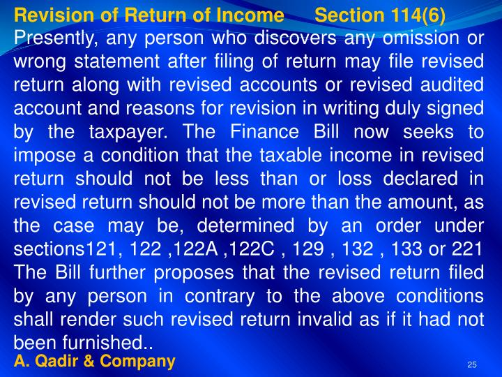 Revision of Return of Income     Section 114(6)