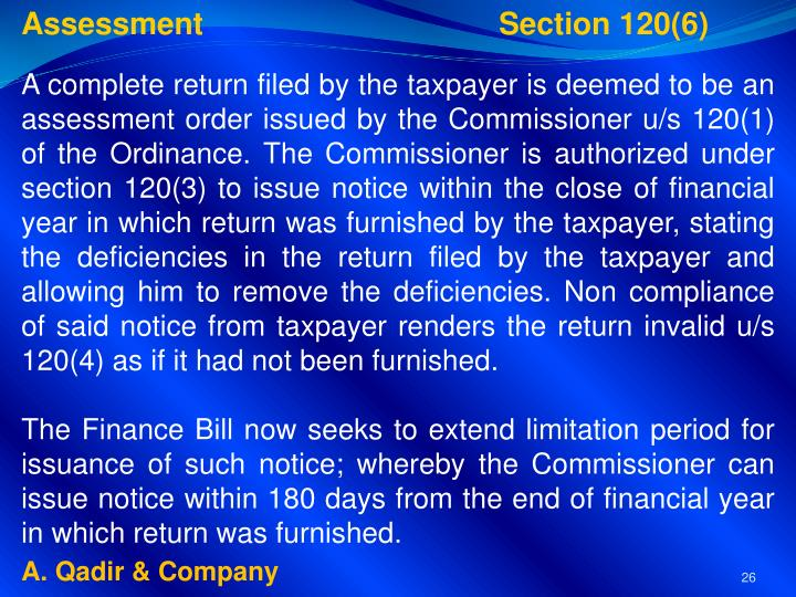 Assessment Section 120(6)