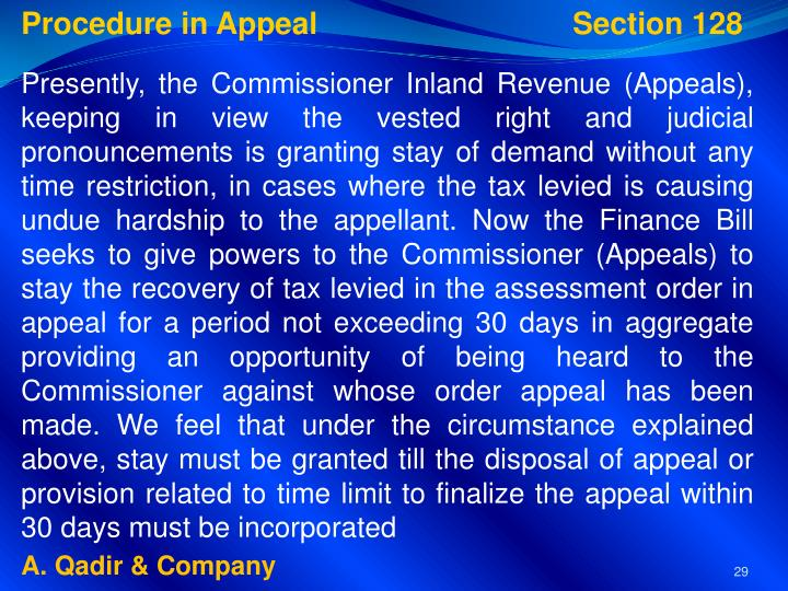 Procedure in Appeal           Section 128