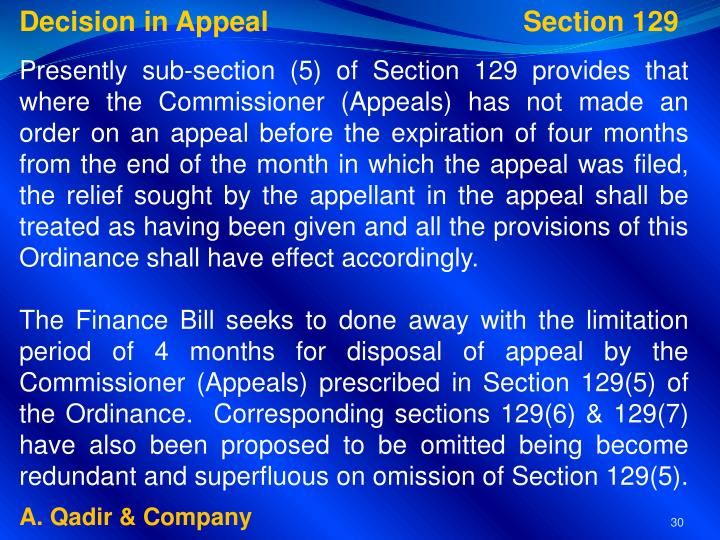 Decision in Appeal           Section 129