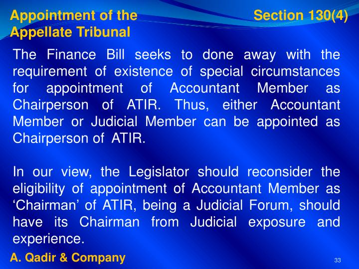Appointment of the                              Section 130(4)