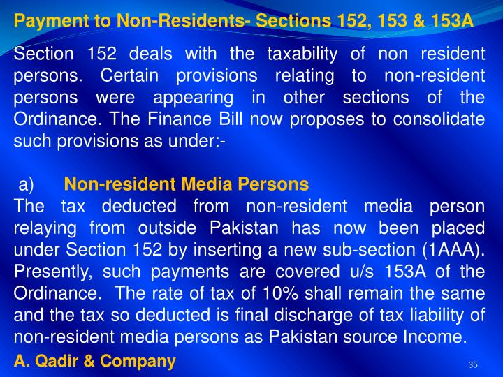 Payment to Non-Residents- Sections 152, 153 & 153A