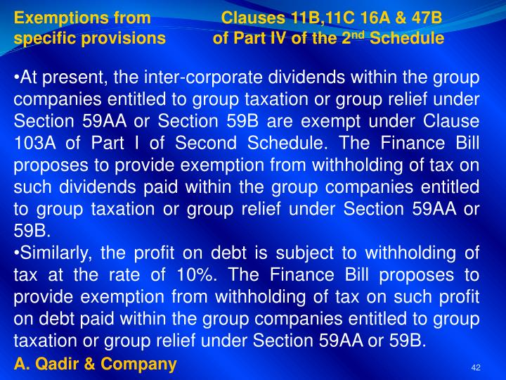 Exemptions from               Clauses 11B,11C 16A & 47B
