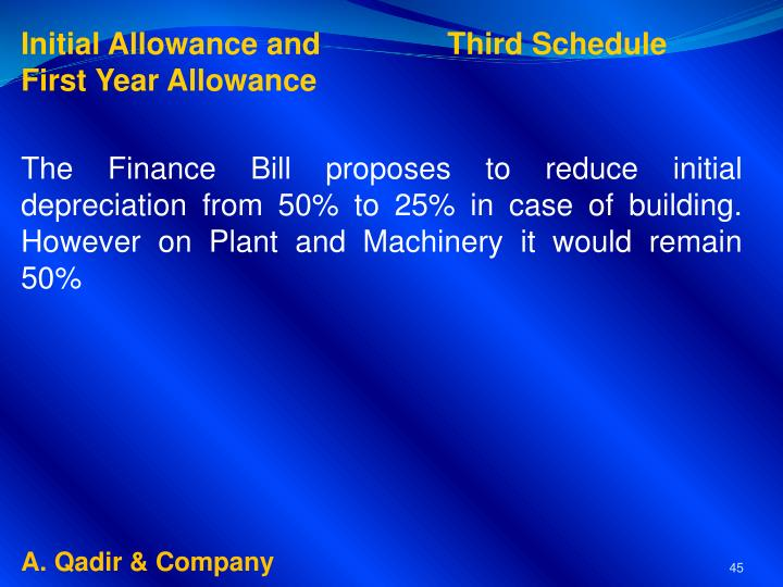 Initial Allowance and               Third Schedule