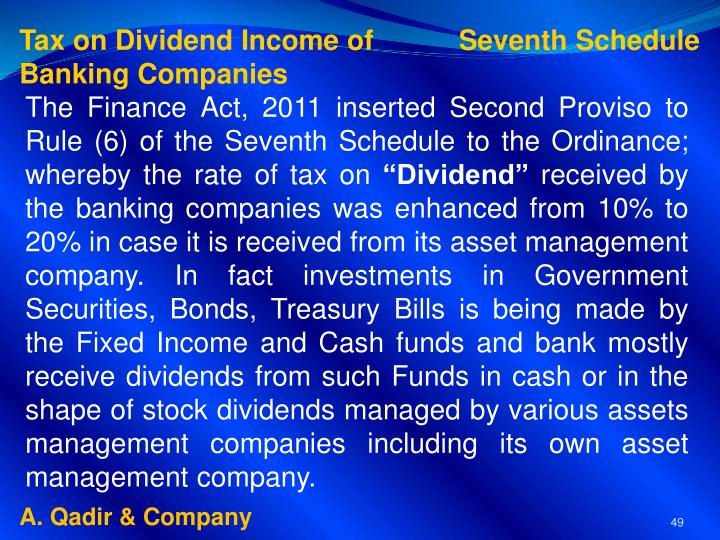 Tax on Dividend Income of           Seventh Schedule
