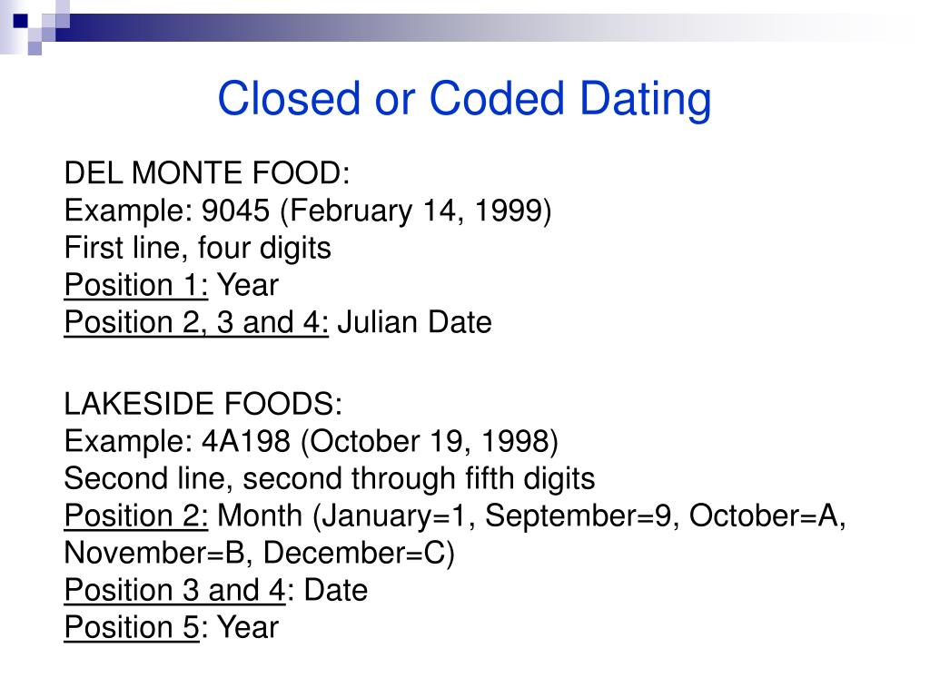 Closed or Coded Dating