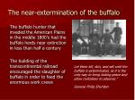 the near extermination of the buffalo