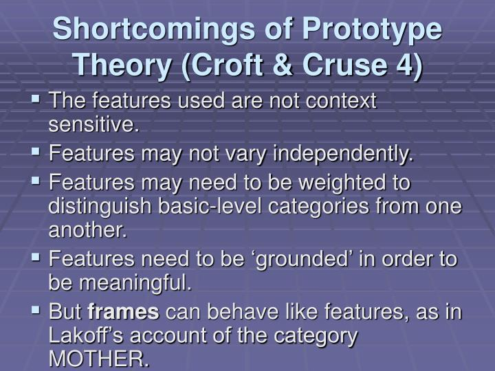 prototype theory Prototype theory is a mode of graded categorization in cognitive science, where some members of a category are more central than others for example,.