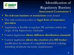identification of regulatory barriers assessment conclusions 1