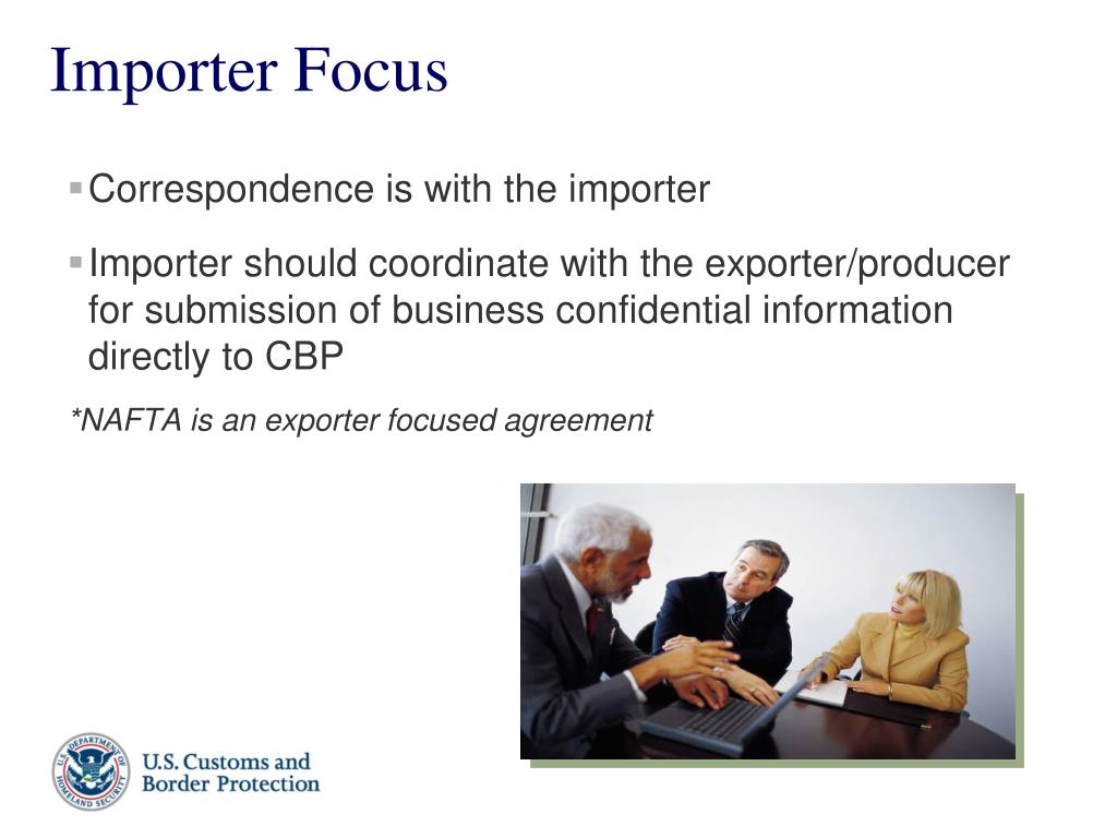 Correspondence is with the importer