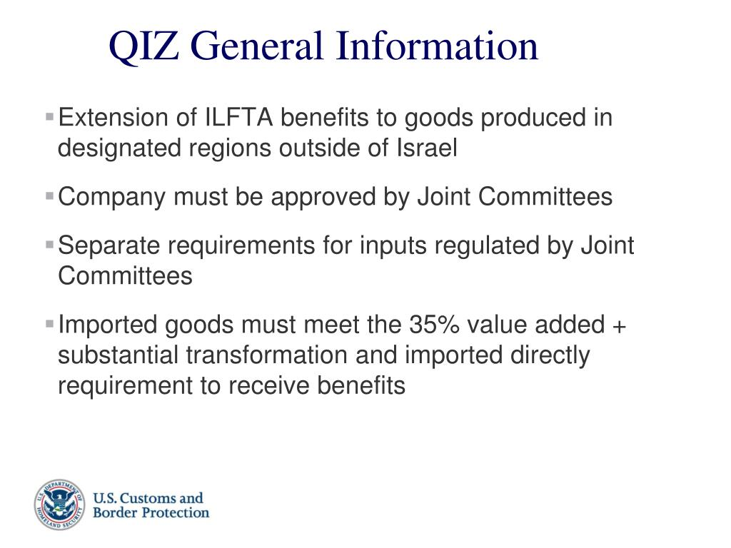 Extension of ILFTA benefits to goods produced in designated regions outside of Israel
