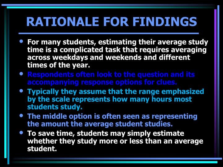 Rationale for findings