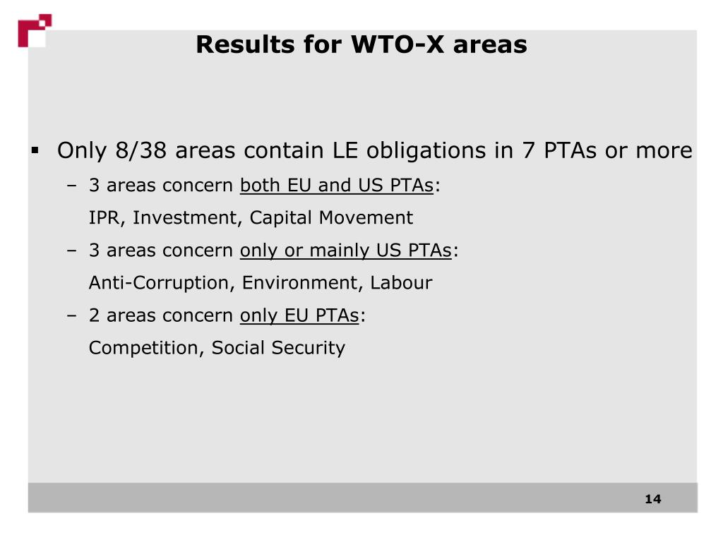 Results for WTO-X areas