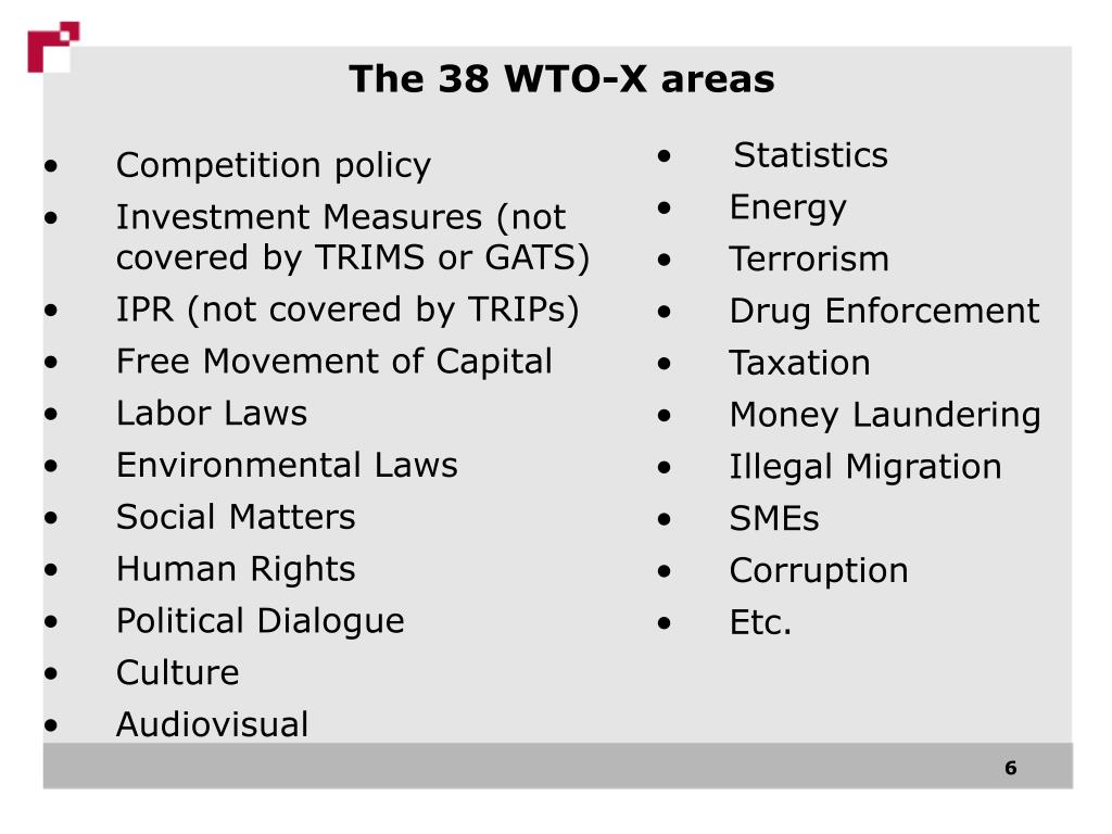 The 38 WTO-X areas