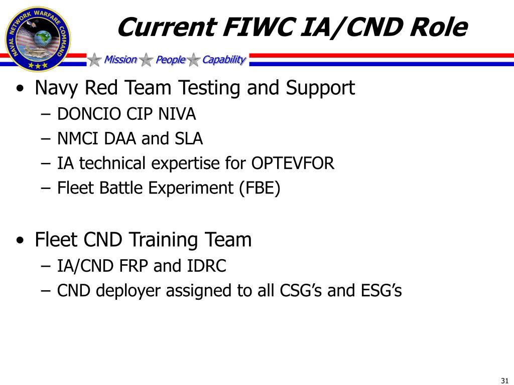 Current FIWC IA/CND Role