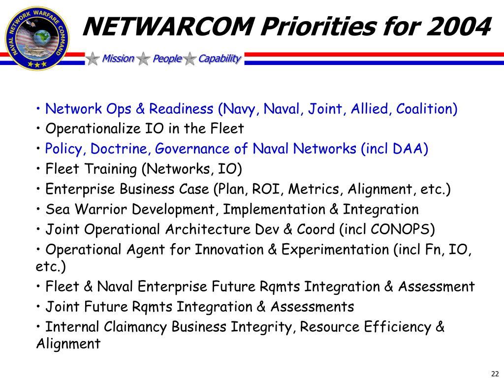 NETWARCOM Priorities for 2004