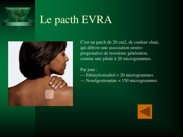 Le pacth EVRA