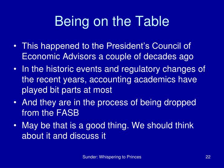 Being on the Table