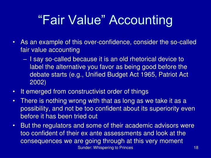 """""""Fair Value"""" Accounting"""