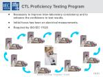 ctl proficiency testing program