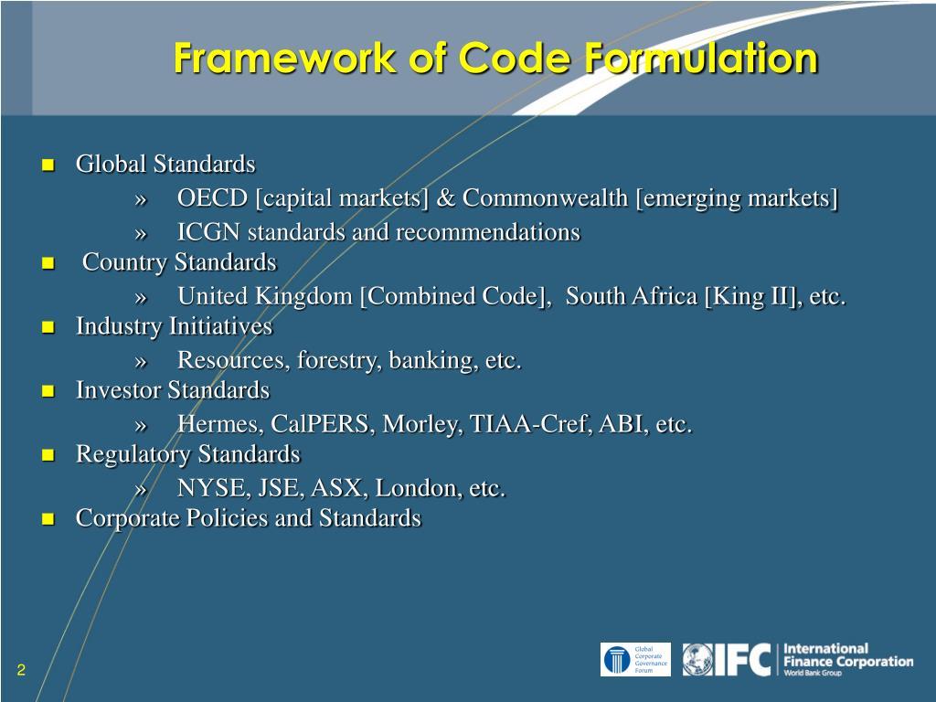 Framework of Code Formulation