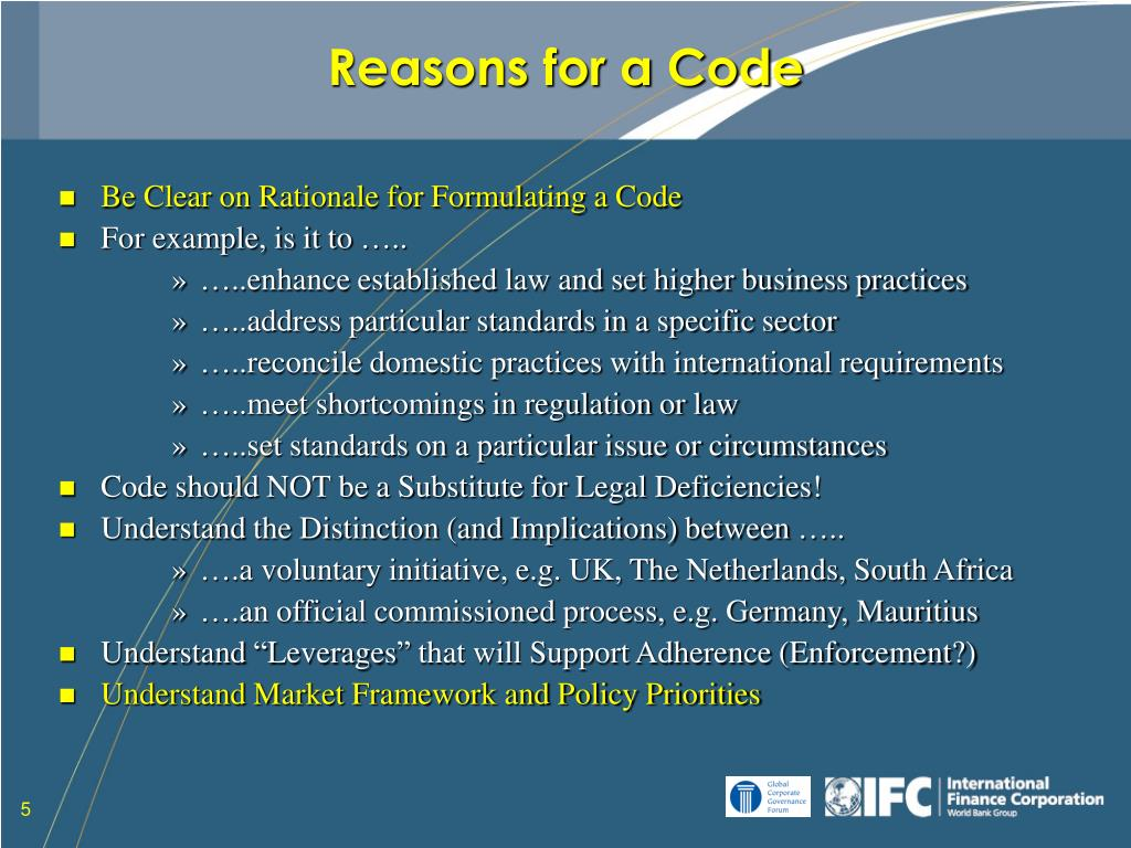 Reasons for a Code