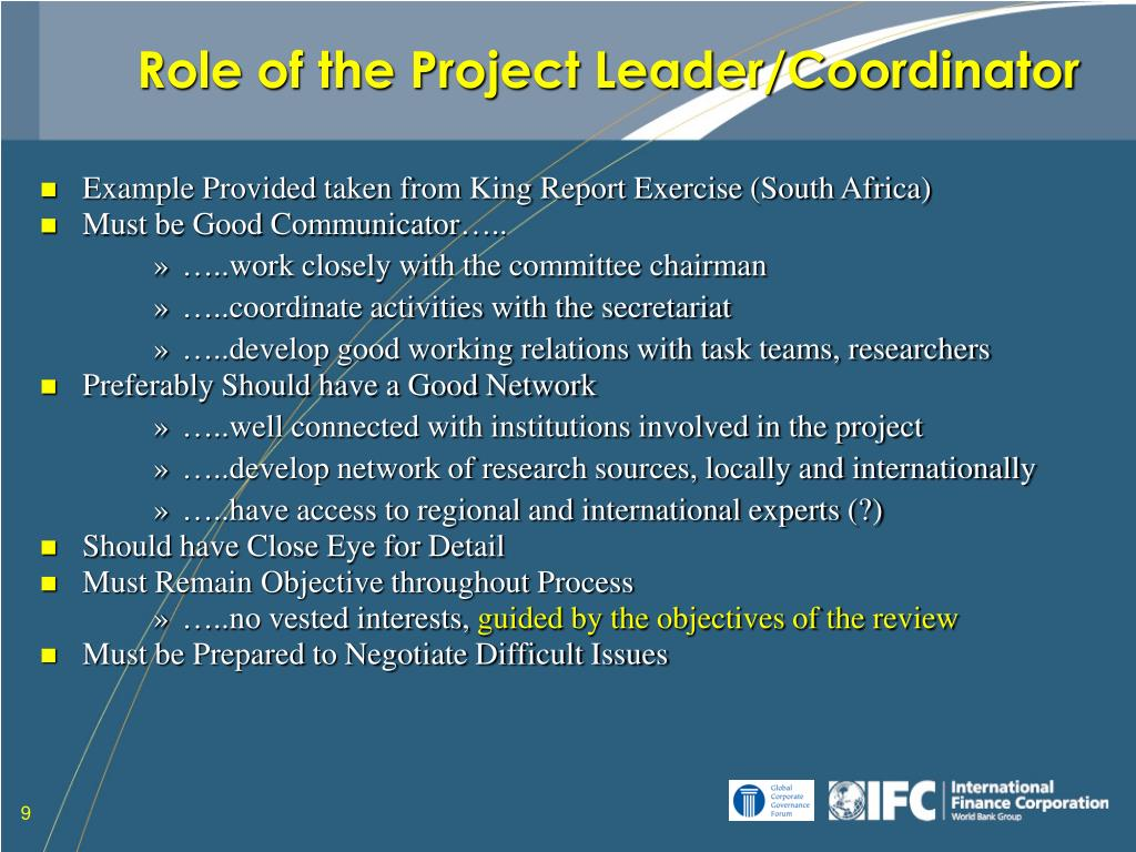 Role of the Project Leader/Coordinator