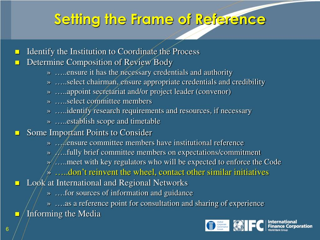 Setting the Frame of Reference