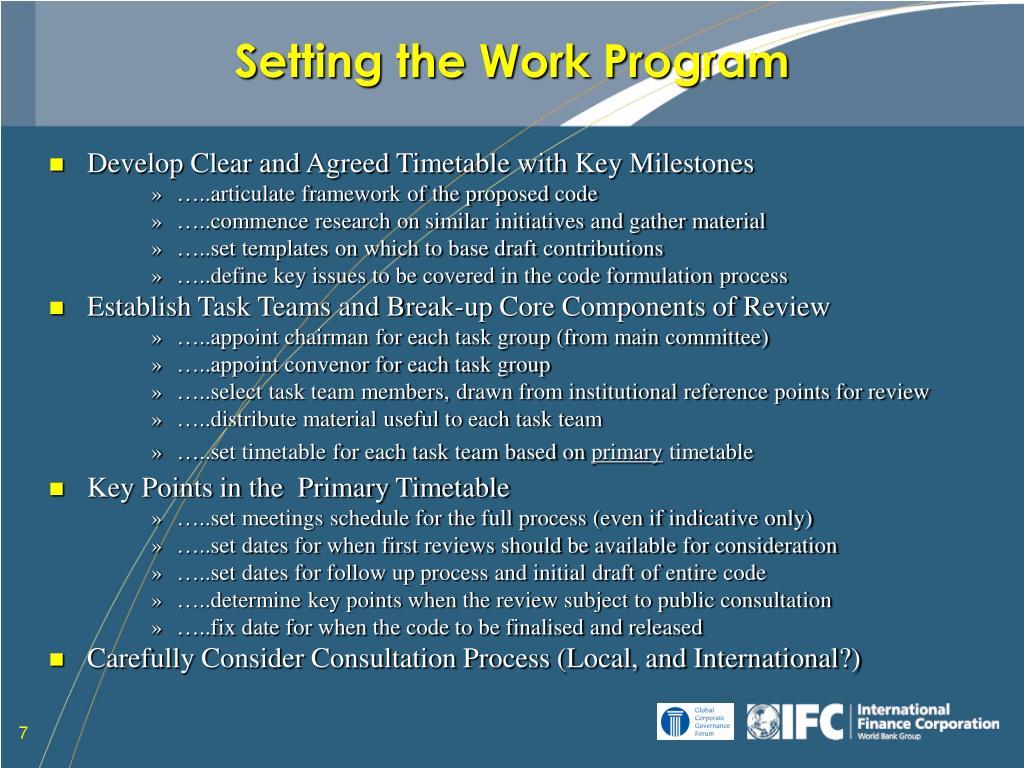 Setting the Work Program