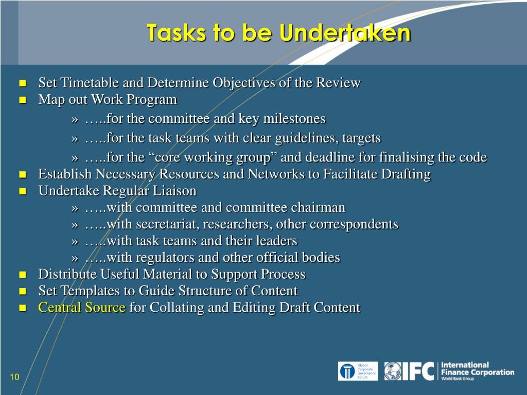 Tasks to be Undertaken