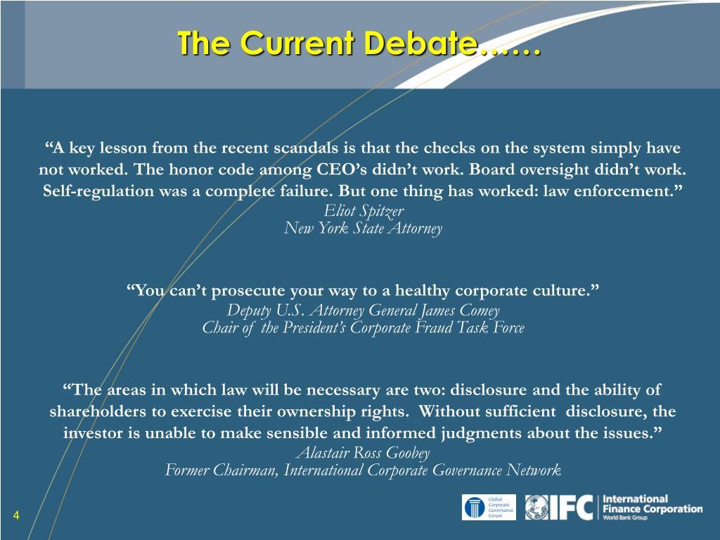 The Current Debate……