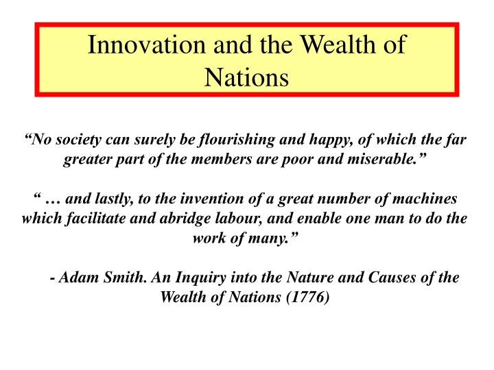 Innovation and the wealth of nations