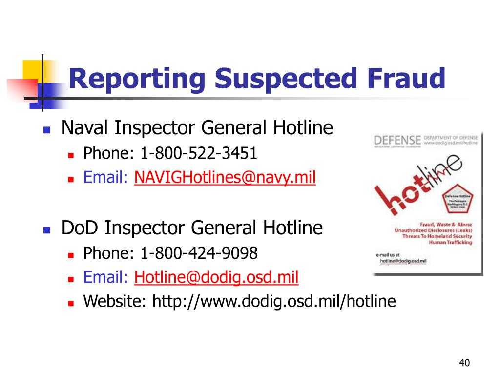 Reporting Suspected Fraud
