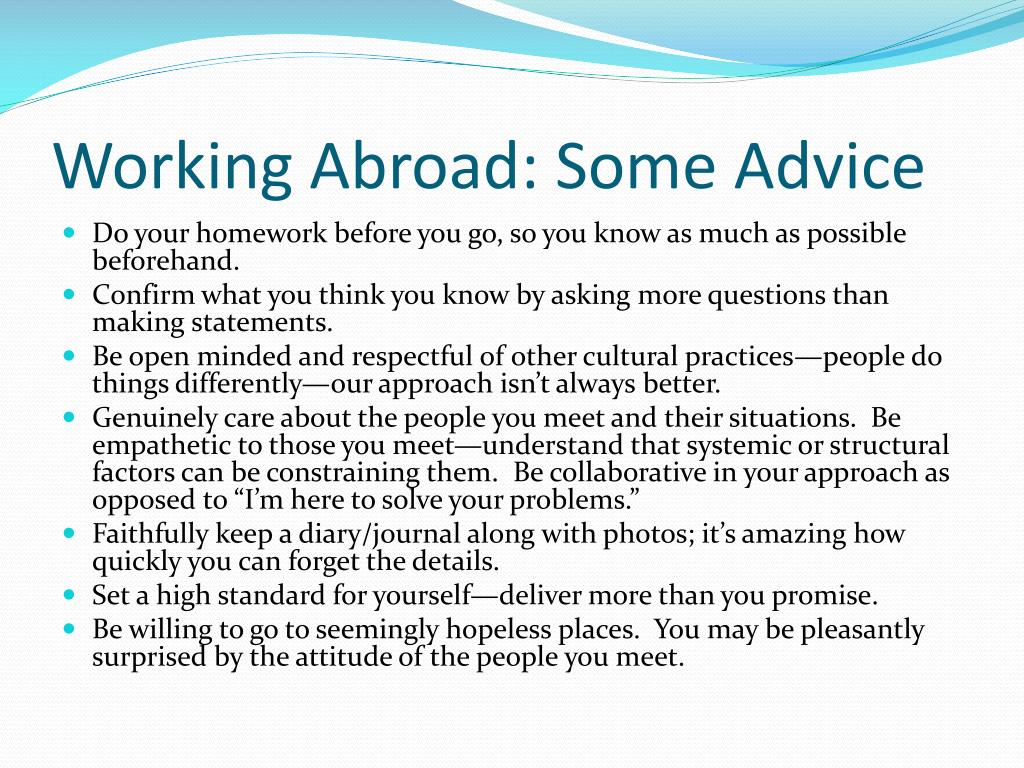 Working Abroad: Some Advice