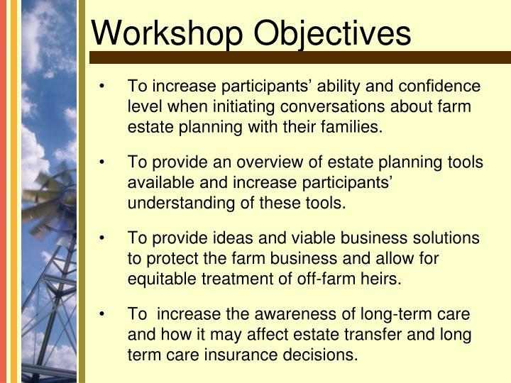 To increase participants' ability and confidence level when initiating conversations about farm estate planning with their families.