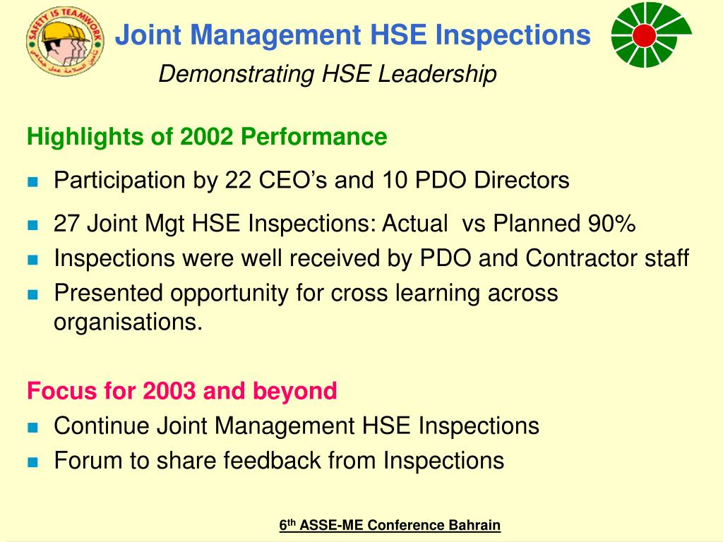 Joint Management HSE Inspections