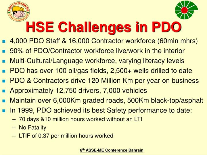 HSE Challenges in PDO
